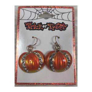 Halloween Pumpkin Dangly Earring New